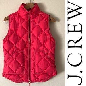 J.Crew Hot Pink Sleeveless Quilted Puffer Vest
